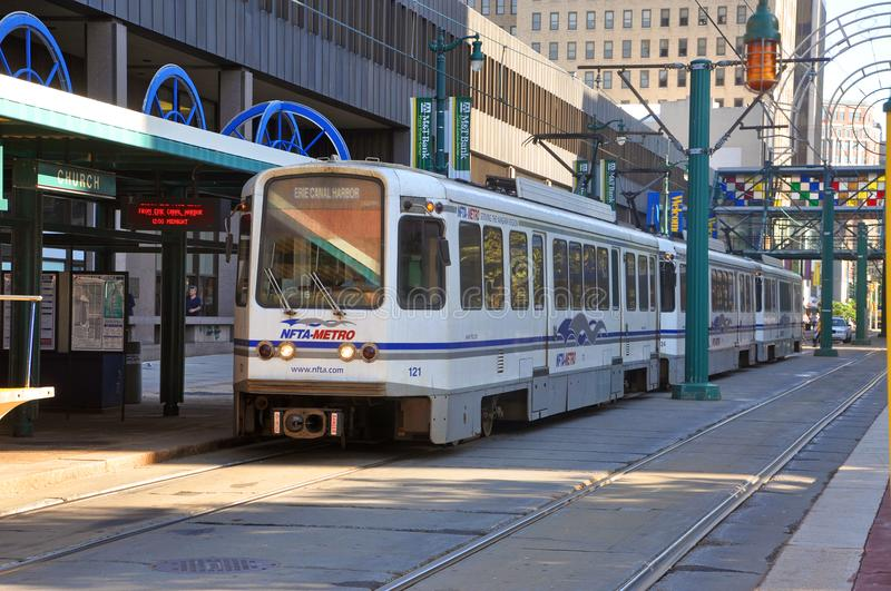 Buffalo Metro Rail, Buffalo, New York. Buffalo Metro Rail on Main Street at Church Street Station in downtown Buffalo, New York, USA royalty free stock images