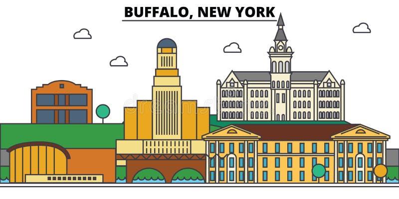 Buffalo, New York Architecture d'horizon de ville illustration de vecteur