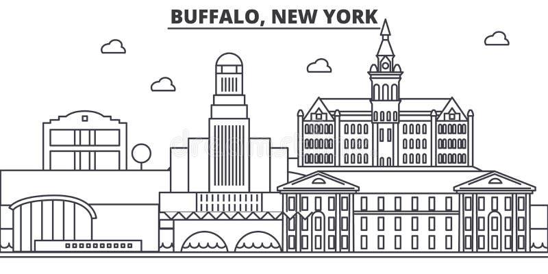 Buffalo, New York architecture line skyline illustration. Linear vector cityscape with famous landmarks, city sights. Design icons. Editable strokes vector illustration