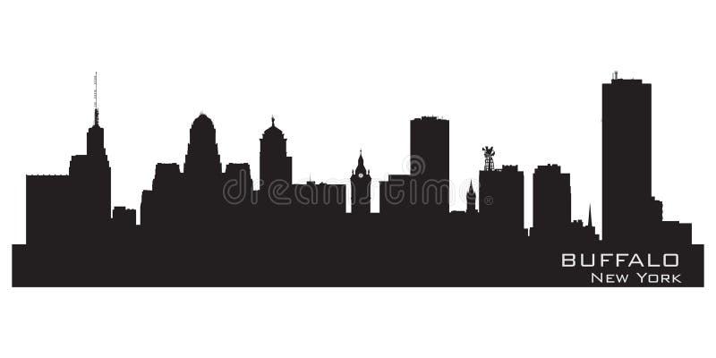 Buffalo, New York Silhouette détaillée d'horizon de ville illustration stock