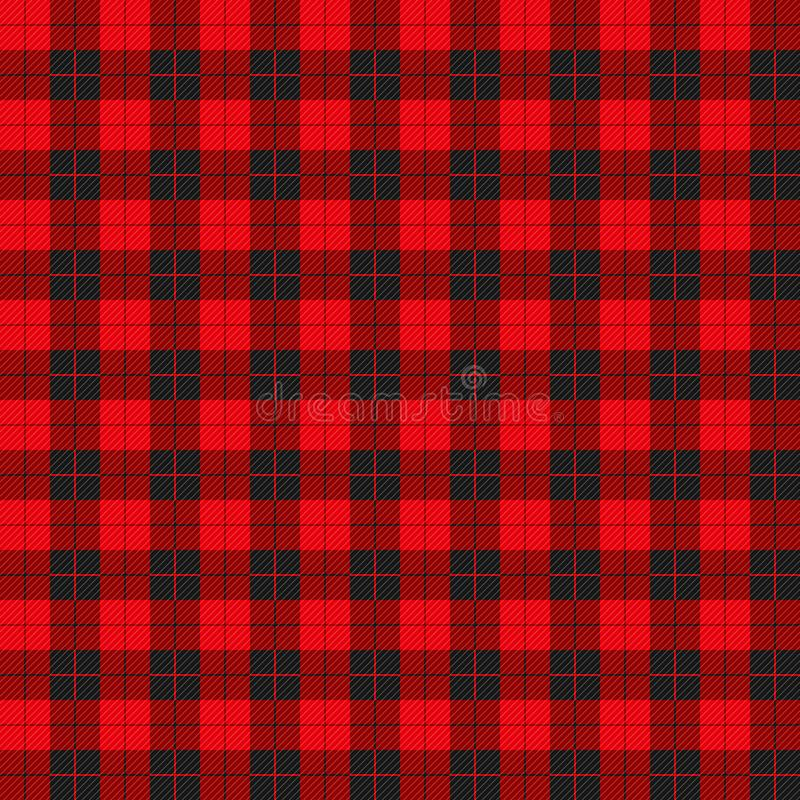 Buffalo plaid pattern with red and black squares vector illustration