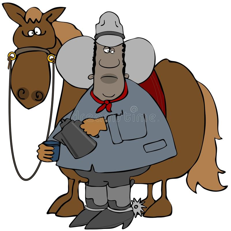 Buffalo soldier with his horse stock illustration
