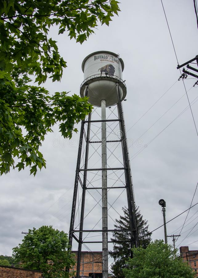 Buffalo Trace Water Tower. Versailles, United States: Buffalo Trace Water Tower at popular spot on the Kentucky Bourbon Trail stock photos