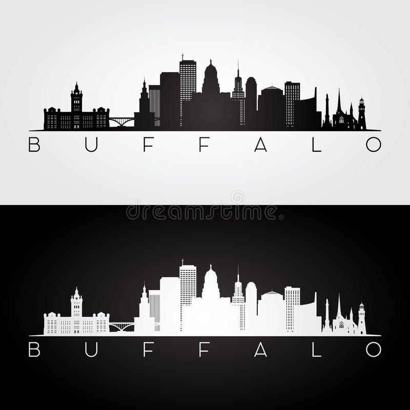 Buffalo USA skyline and landmarks silhouette vector illustration