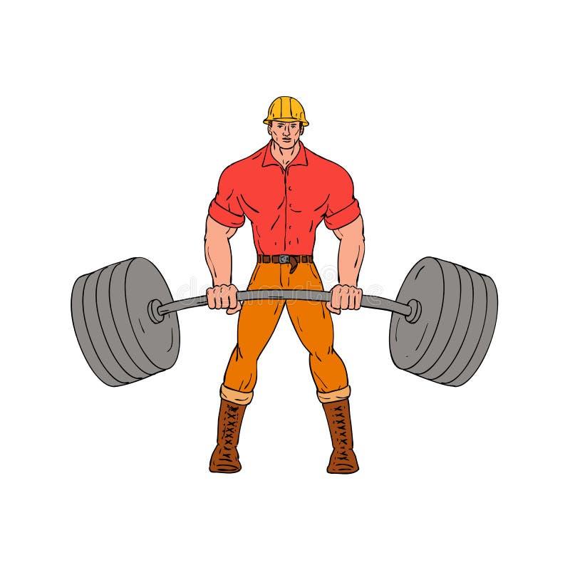 Buffed Lumberjack Lifting Weights Cartoon. Cartoon style illustration of a buffed lumberjack, logger ,woodcutter, shanty boy, woodhick or timber cutter lifting a royalty free illustration