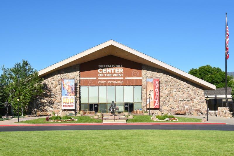 Buffel Bill Center av den västra huvudsakliga ingången arkivbild