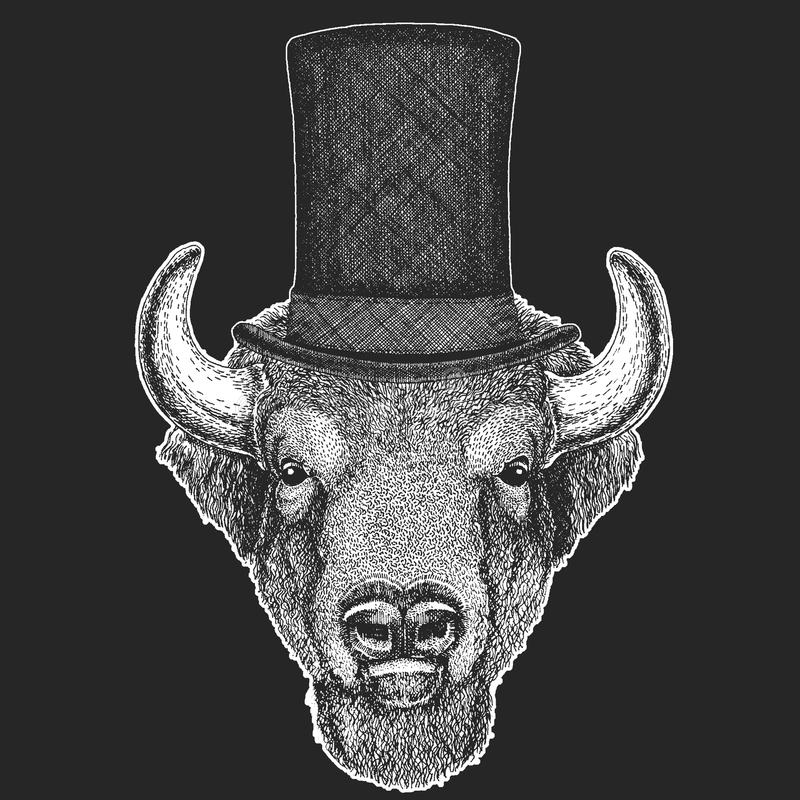 Buffel bison, oxe, bästa hatt för tjur, cylinder Hipsterdjur, gentleman Klassisk huvudbonad Tryck för barnt-skjorta vektor illustrationer