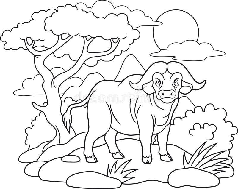Buffeln gick för en gå royaltyfri illustrationer