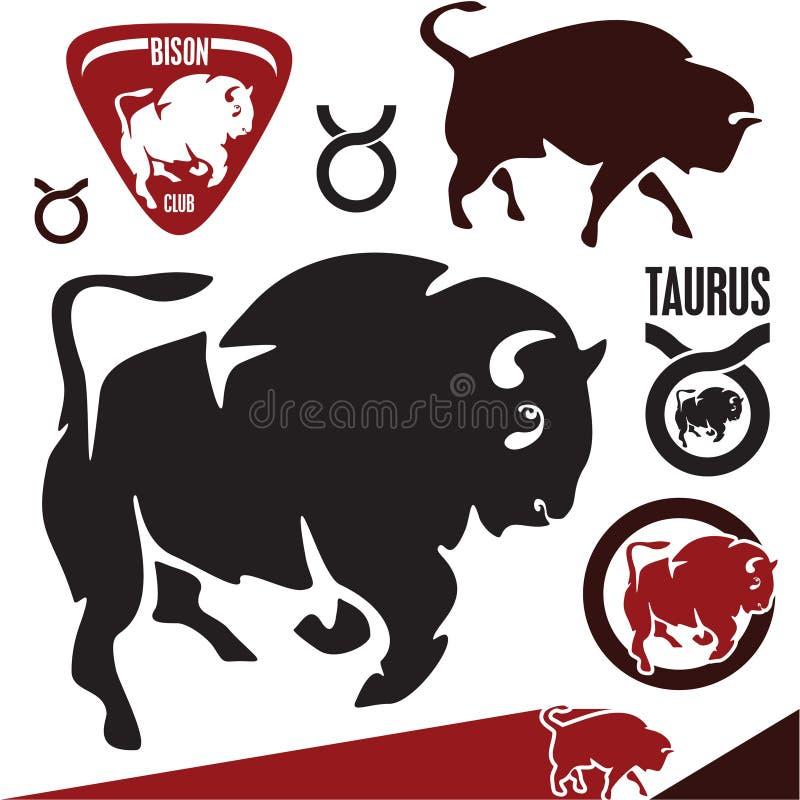 Buffels. Bizon. Stier. royalty-vrije illustratie