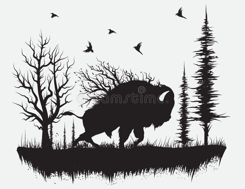 Buffels die in het bos lopen vector illustratie
