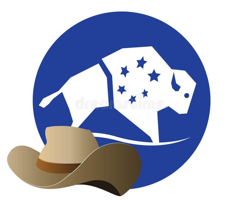 Buffels Logo Design With Cowboy Hat vector illustratie