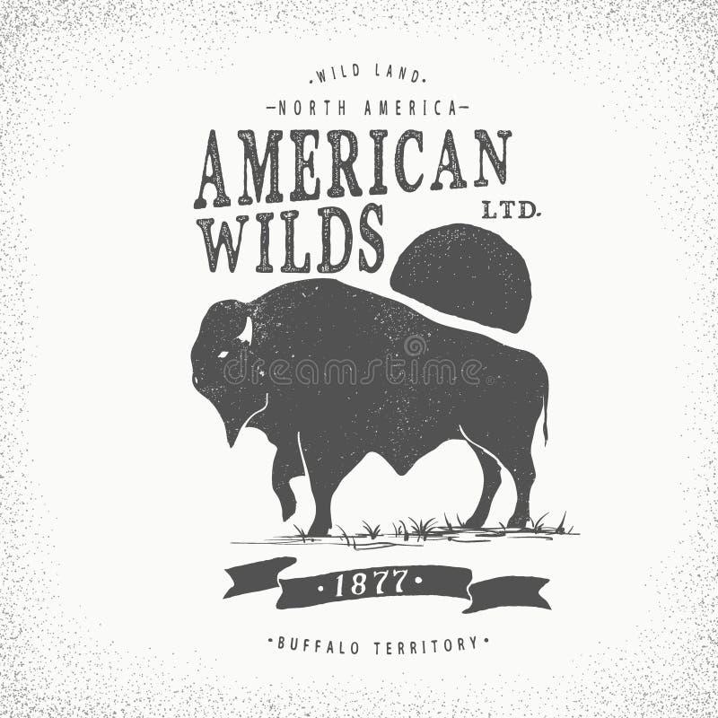 Buffels retro etiket stock illustratie