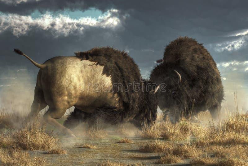Buffelsstrijd royalty-vrije illustratie