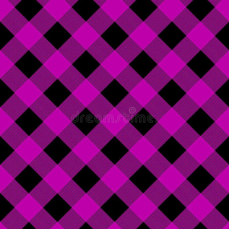 Buffeltartanpläd Proton purpurfärgad tartan Skotsk modell i lila- och svartbur Skotsk bur abstrakt modell rutigt vektor illustrationer