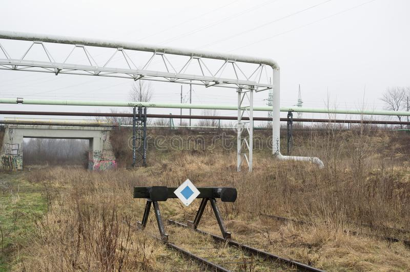 Buffer stop for train stock photo