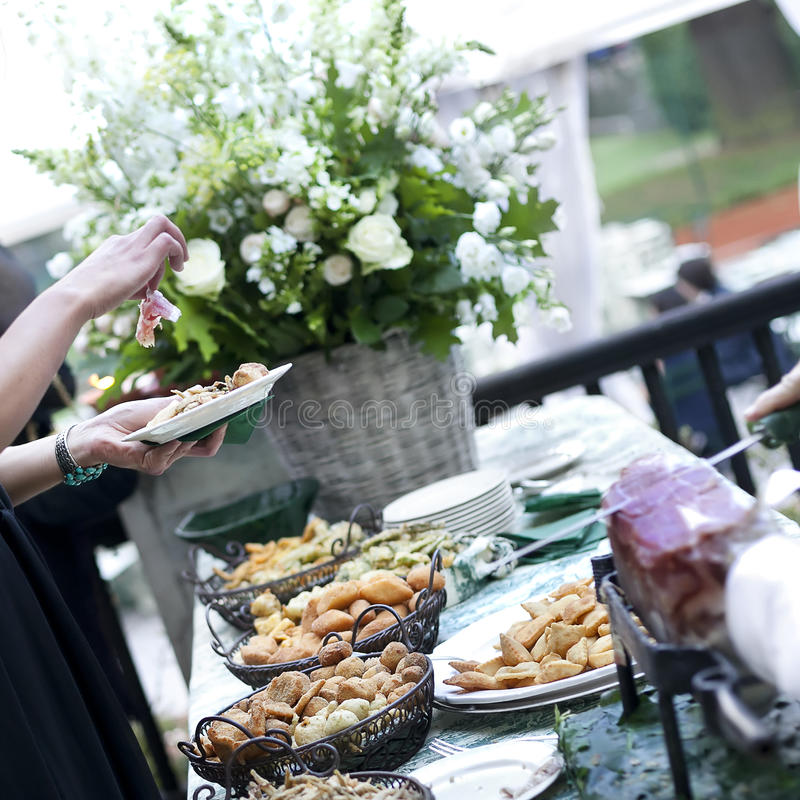 Buffet with appetizers or finger food royalty free stock images