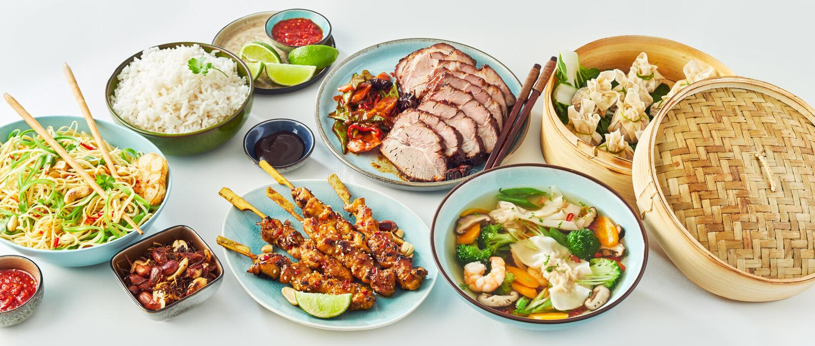 Buffet of Assorted of Chinese Food Dishes stock photo