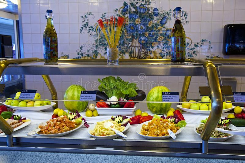 Buffet on a cruise ship royalty free stock photography