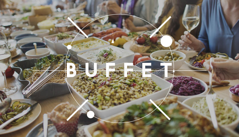 Buffet Cuisine Catering Meal Food Concept stock images