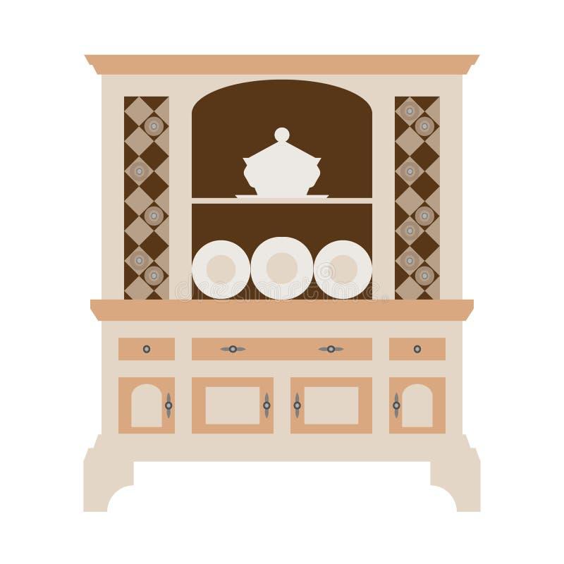 Buffet de cuisine d'huche avec des plats de différents bouteilles et verres, boîtes et plats plat illustration stock