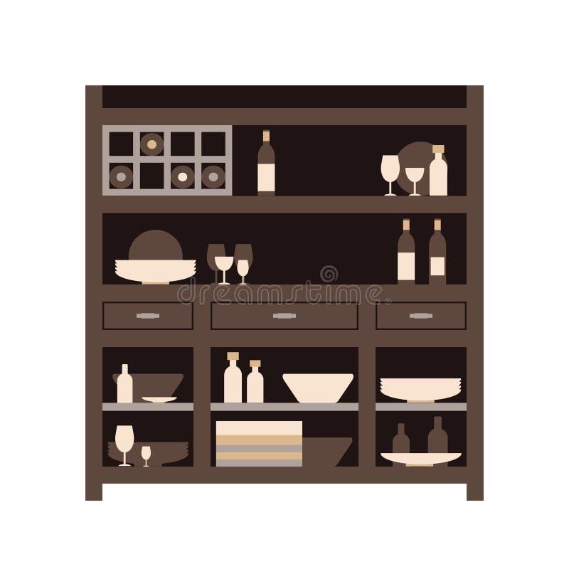 Buffet de cuisine d'huche avec des plats de différents bouteilles et verres, boîtes et plats plat illustration libre de droits