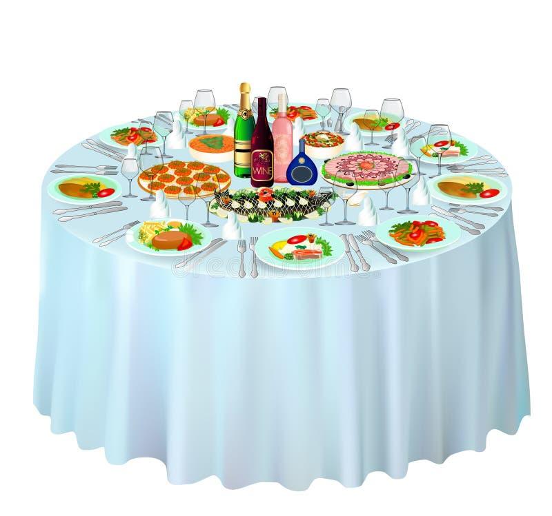 Buffet de gala servi sur le blanc illustration de vecteur