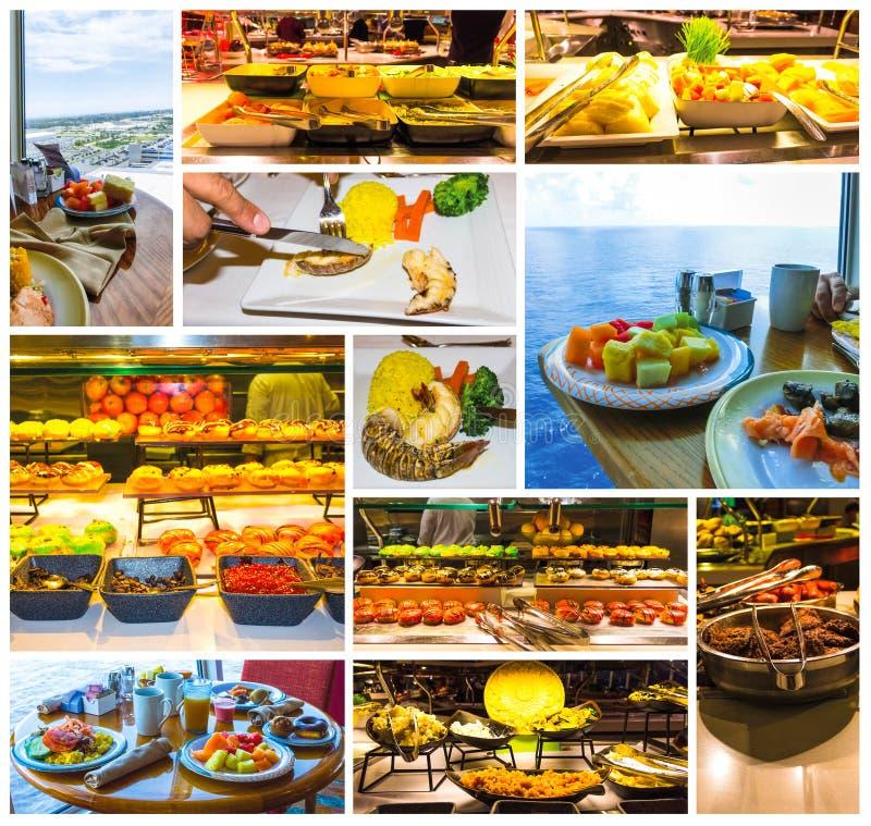 Buffet della sala da pranzo a bordo della nave da crociera astratta di lusso immagini stock