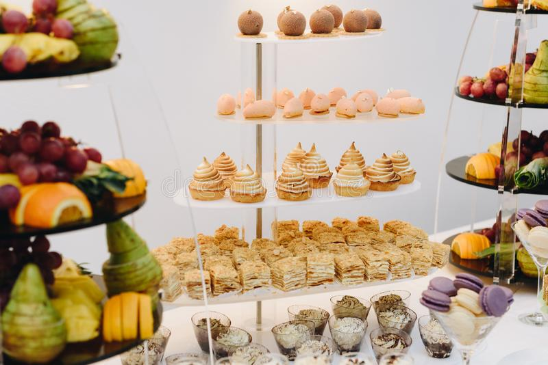 Buffet desserts of multiple cakes and fruits. Buffet dessert table of multiple cakes and fruits stock image