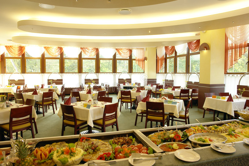 Buffet in dining room stock photography