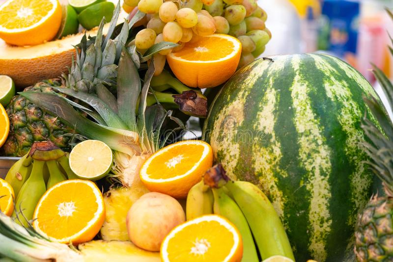 Buffet display of assorted fresh tropical fruit stock photography