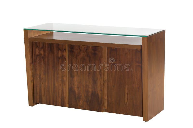 Buffet en bois avec le verre noir image libre de droits