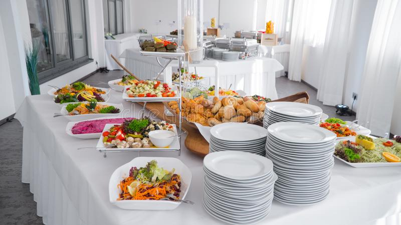 Buffet food, catering food party at restaurant stock photography