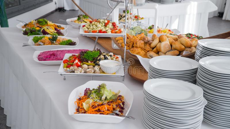 Buffet food, catering food party at restaurant royalty free stock photos