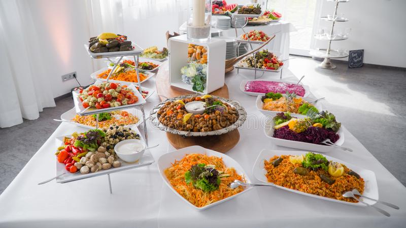 Buffet food, catering food party at restaurant stock photo