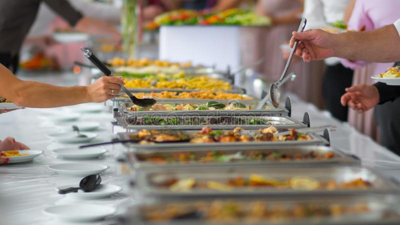 Buffet food catering food party at restaurant royalty free stock images