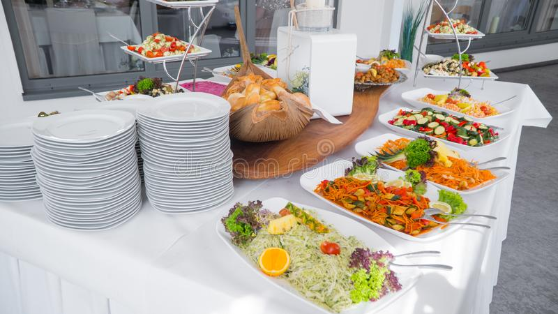 Buffet food, catering food party at restaurant stock images