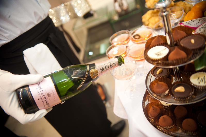 Buffet food and champagne stock photos