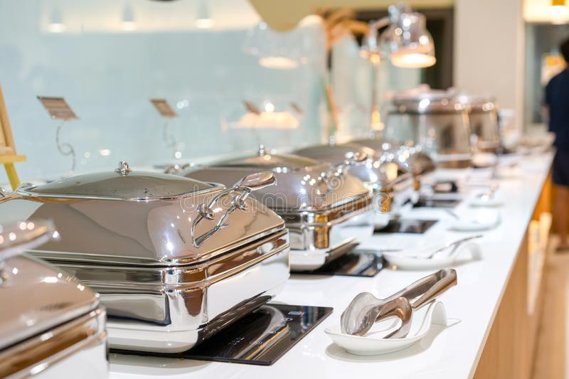 Buffet Line in large white square bowl at Thailand resort royalty free stock photo