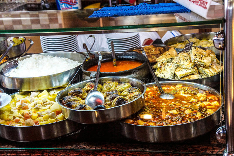 Buffet lunch in Turkish restaurant stock image