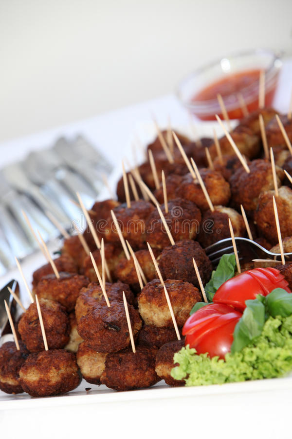 Buffet with meatballs royalty free stock photo
