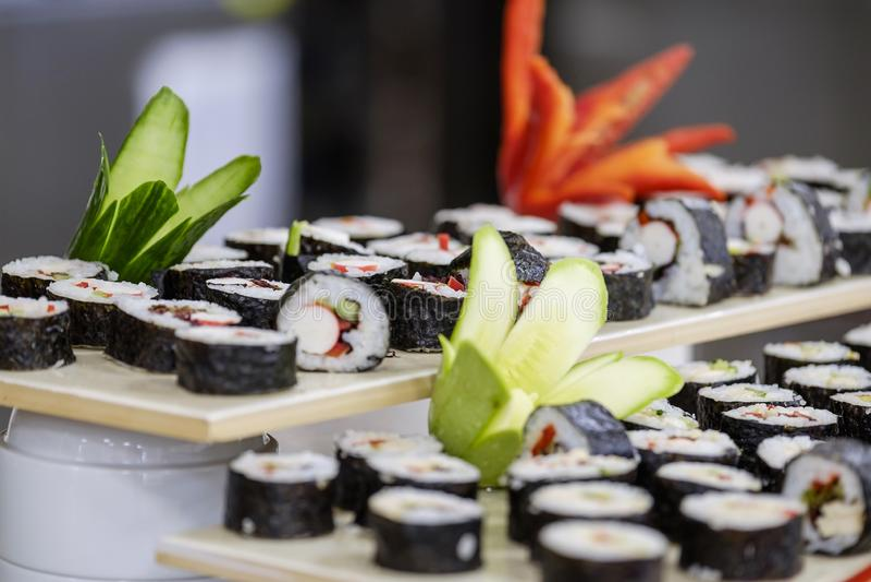 Buffet met sushi en broodjes 3 royalty-vrije stock fotografie