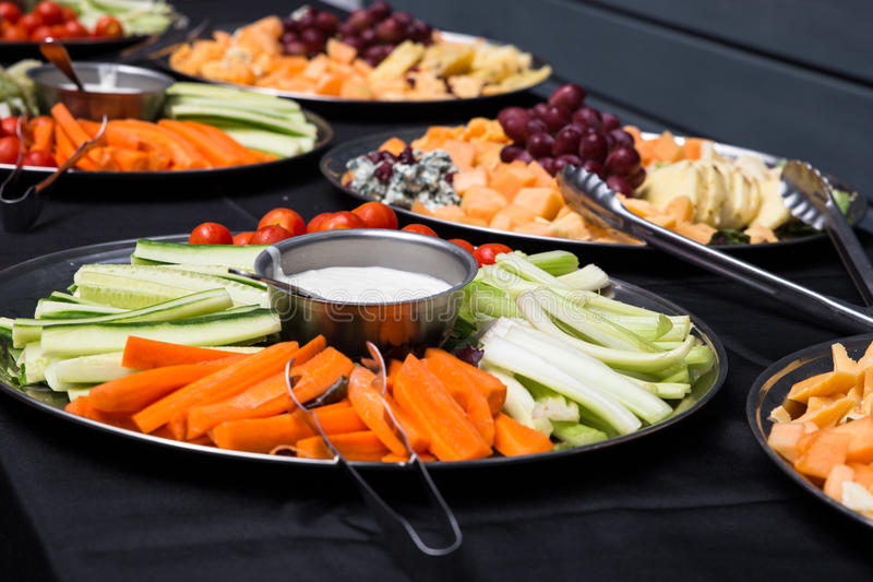 Buffet platters royalty free stock photography