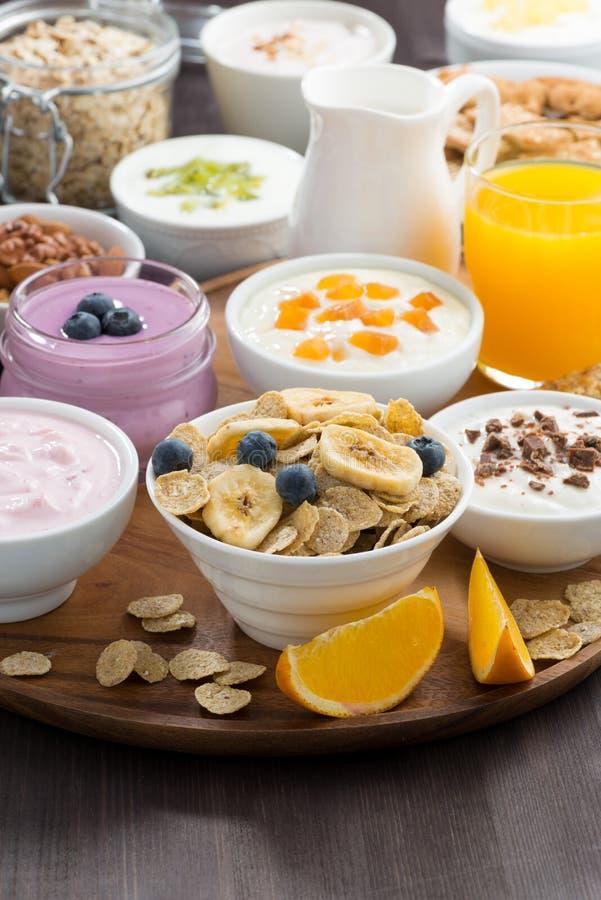 Buffet riche de petit déjeuner avec des céréales, le yaourt et le fruit photo stock