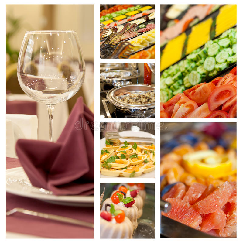 Buffet set food photo menu collage royalty free stock images