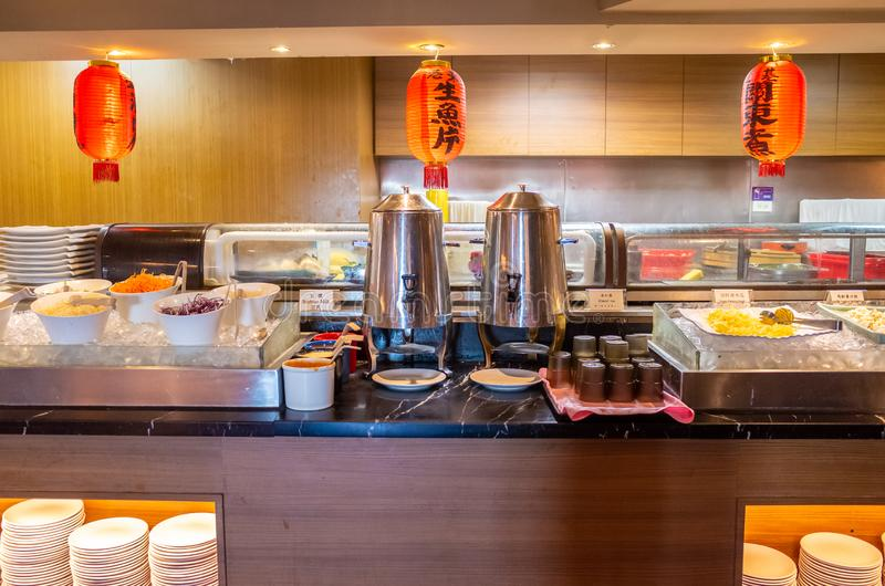 Buffet Style Japanese Food Served in a Hotel royalty free stock images