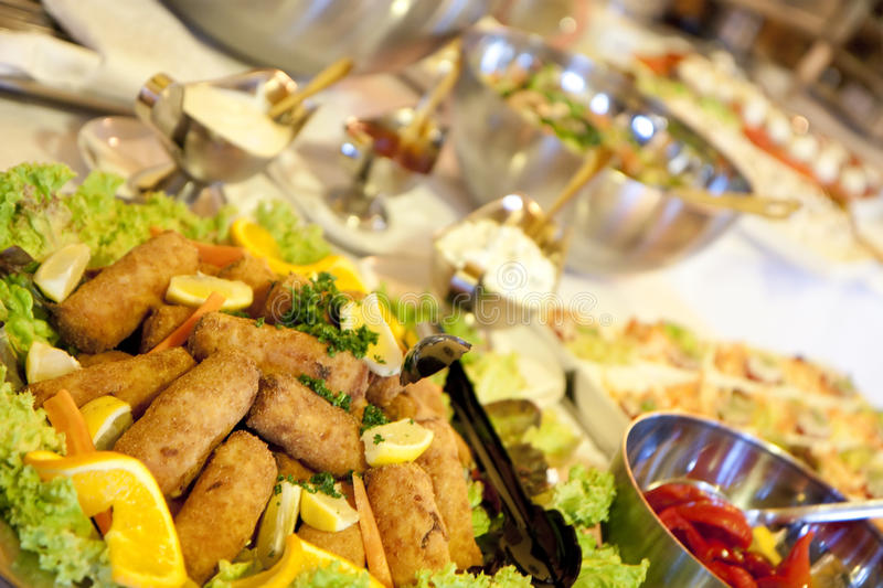Buffet table. At a dinner party stock photo