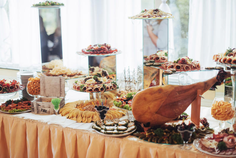 Buffet table best day in my life. Buffet table. best day in my life stock image