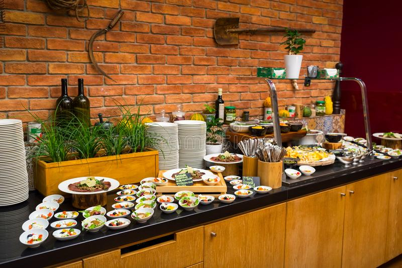 Buffet table for breakfast in the hotel. Cafe stock photos