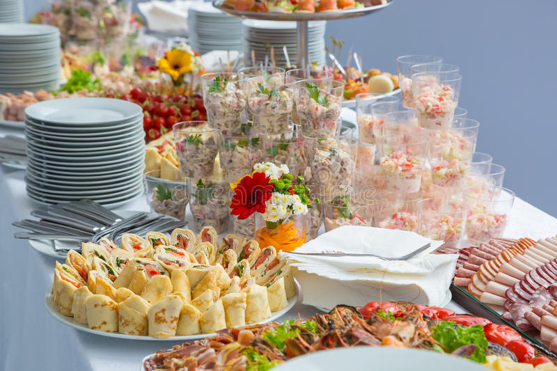 Buffet table corporate. Table appointments for corporate stock photos