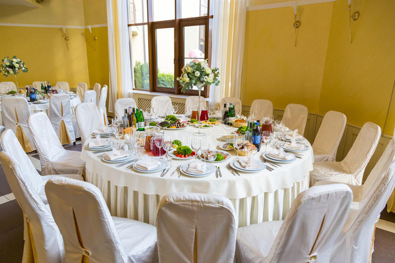 Buffet table corporate. Table appointments for corporate royalty free stock photography